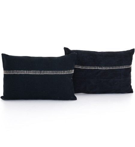 "Alese Charcoal 16x24"" Pillow (Set of 2)"