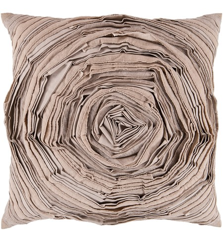 "22"" Square Taupe Large Flower Pillow"