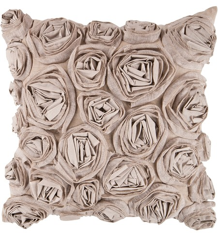 "22"" Square Taupe Small Flowers Pillow"
