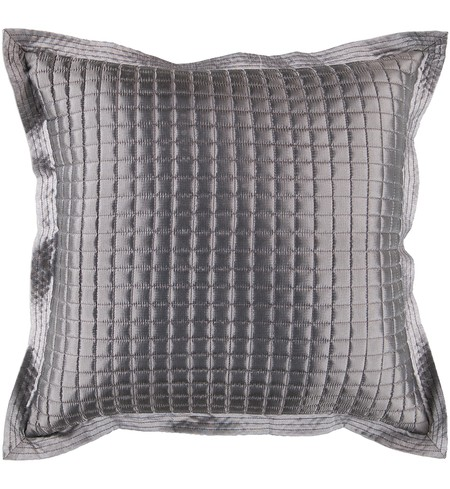 "22"" Square Gray Sleek Metallic Pillow"