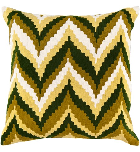 "22"" Square Olive Southwestern Chevrons Pillow"