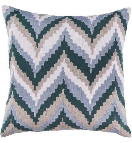 "22"" Square Slate Southwestern Chevrons Pillow"