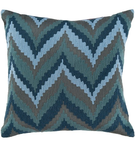 "22"" Square Teal Southwestern Chevrons Pillow"