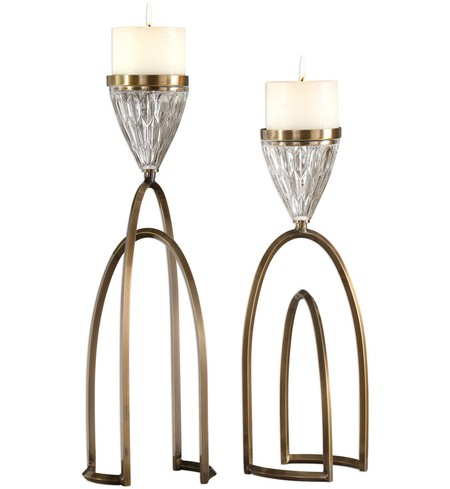 Carma Bronze & Crystal Candleholders (Set of 2)