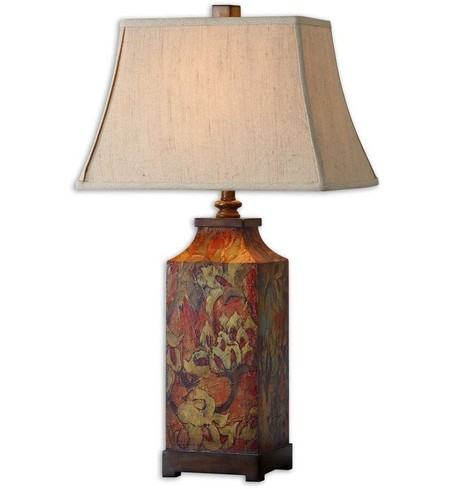 "Colorful Flowers 32"" Table Lamp"