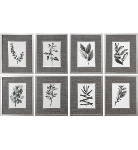Sepia Gray Leaves Prints (Set of 8)