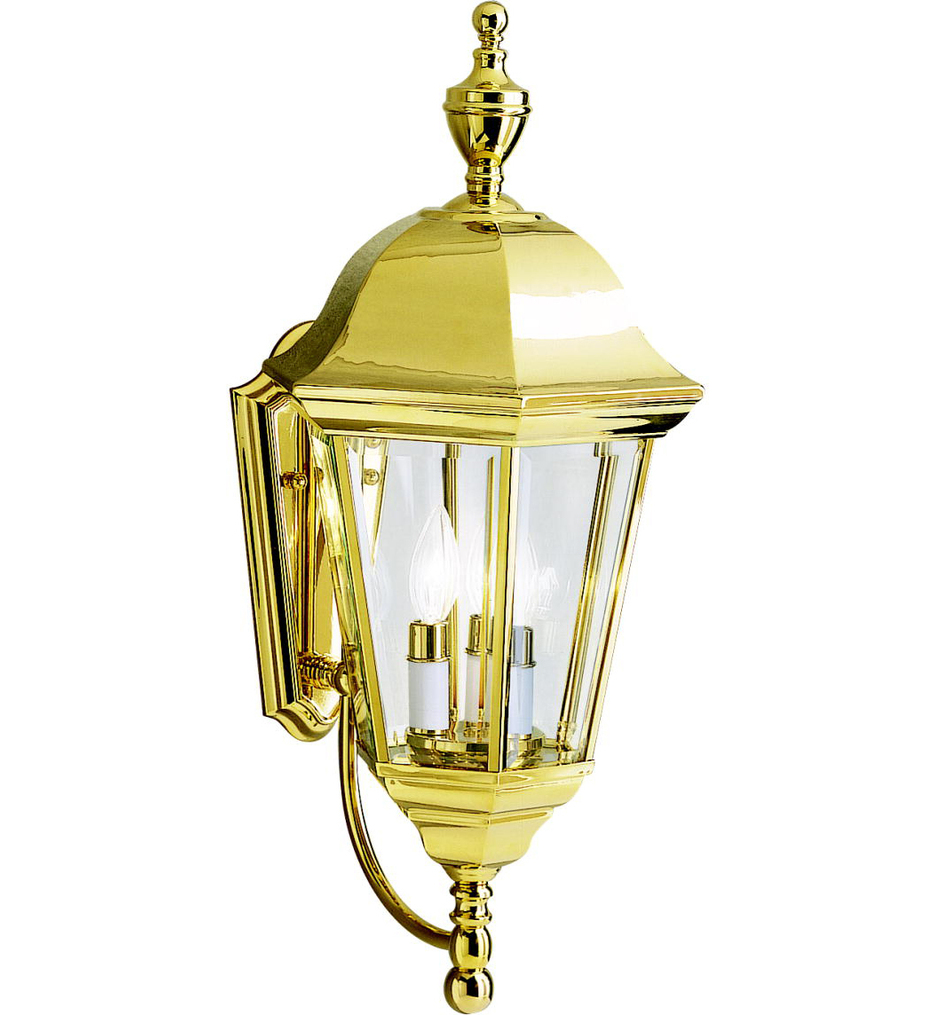 Kichler - 9489PB - Grove Mill Polished Brass 11.25 Inch 3 Light Outdoor Wall Sconce