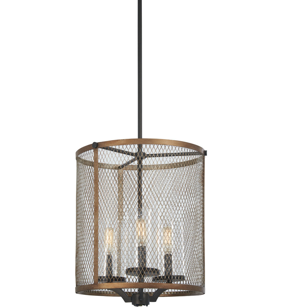 Minka-Lavery - 4692-107 - Marsden Commons Smoked Iron with Aged Gold 18 Inch 3 Light Pendant