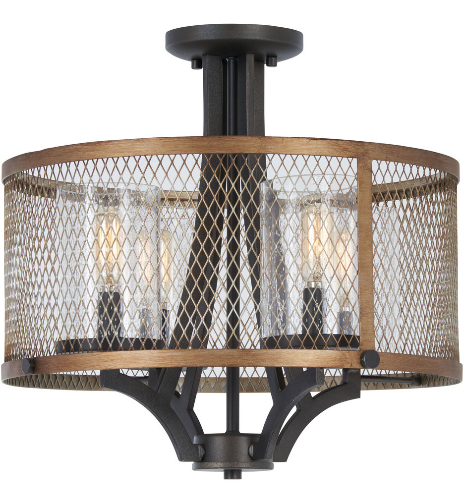 Minka-Lavery - 4698-107 - Marsden Commons Smoked Iron with Aged Gold 15.75 Inch 4 Light Semi-Flush