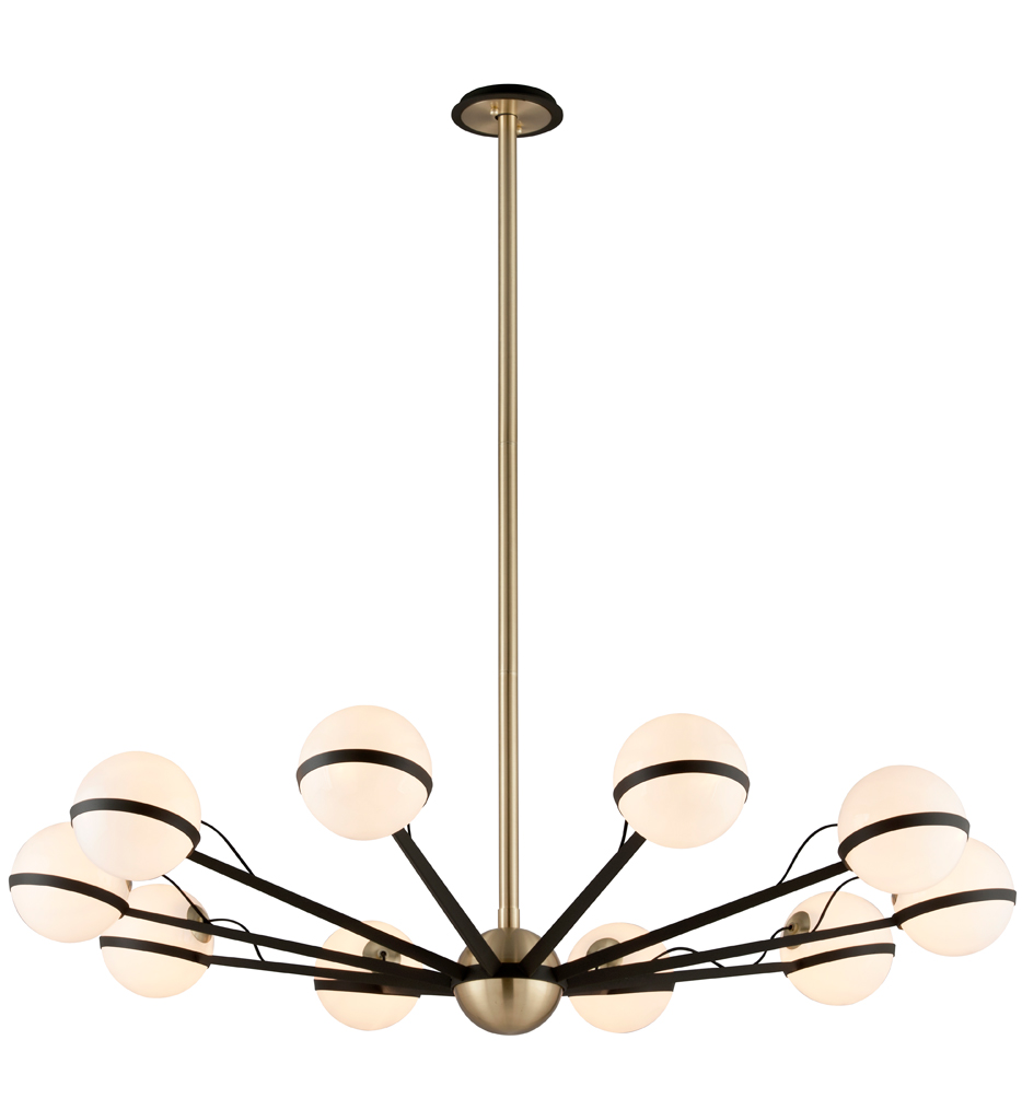 Troy Lighting - Ace Textured Bronze with Brushed Brass Chandelier