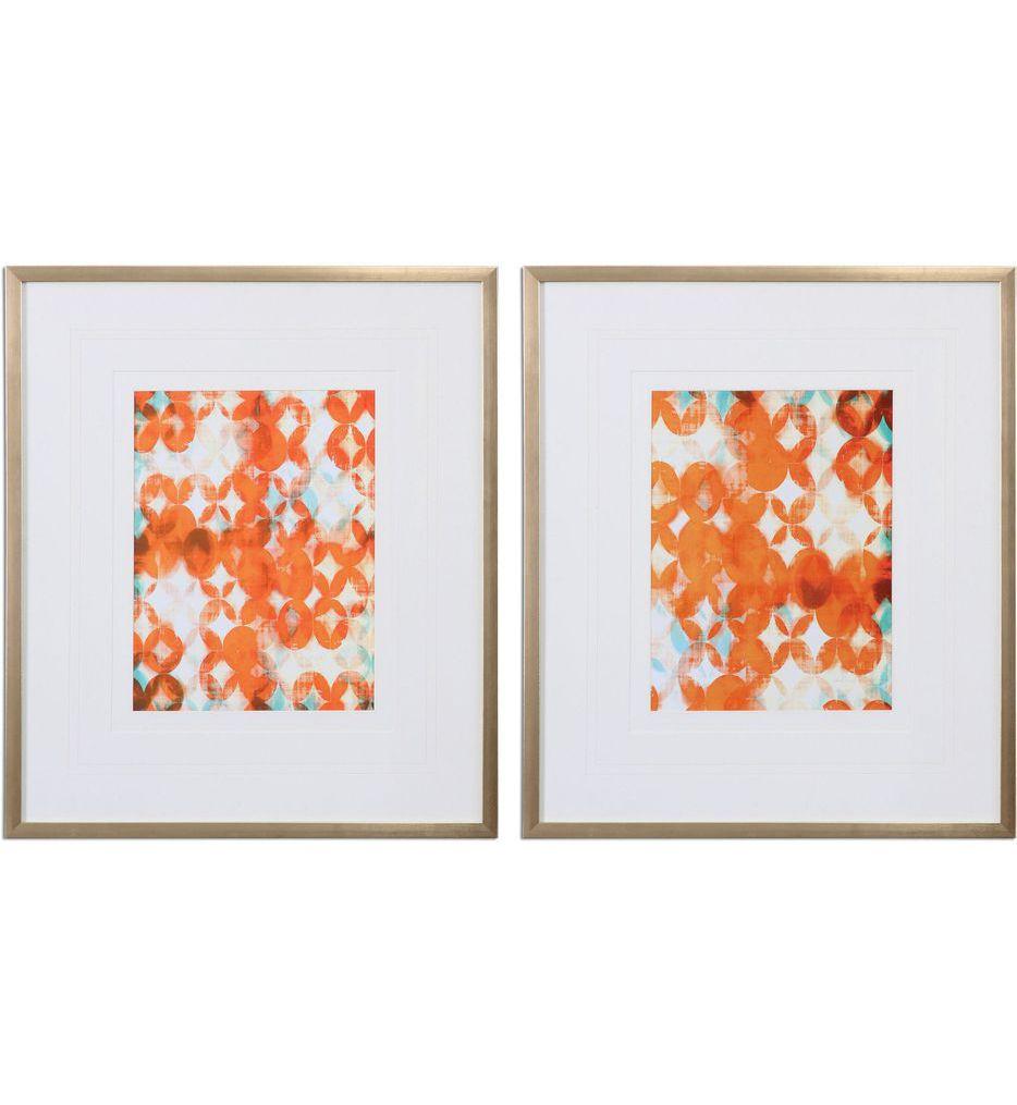 Uttermost - 33616 - Overlapping Teal and Orange Modern Art (Set of 2)
