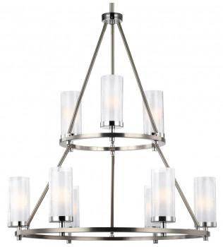 Feiss - F2987/9SN/CH - Jonah Satin Nickel/Chrome 9 Light Chandelier