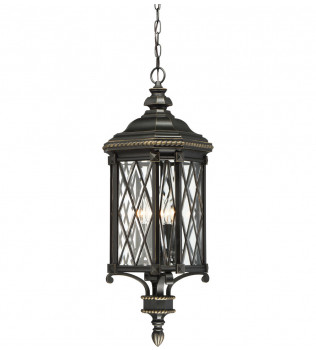 The Great Outdoors - 9324-585 - Bexley Manor Black with Gold Highlights 4 Light Outdoor Hanging Lantern