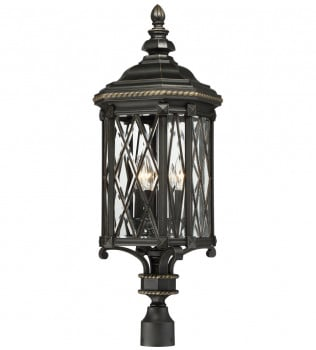 The Great Outdoors - 9326-585 - Bexley Manor Black with Gold Highlights 4 Light Outdoor Post Mount