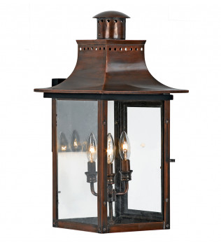 Quoizel - CM8412AC - Chalmers Aged Copper 3 Light Outdoor Wall Lantern