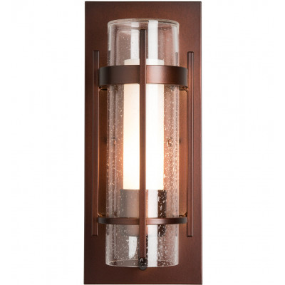 Banded Seeded Glass Small Outdoor Wall Sconce