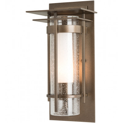 Banded Seeded Glass Small Outdoor Wall Sconce with Top Plate