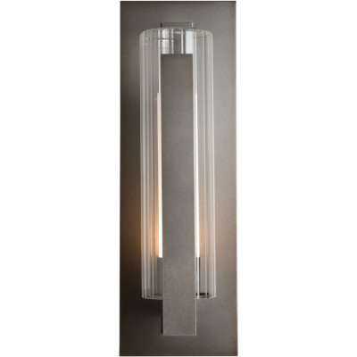 Vertical Bar Fluted Glass Large Outdoor Wall Sconce