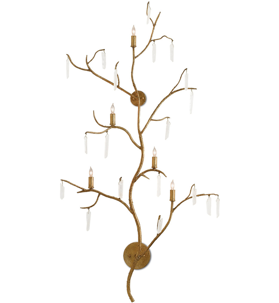 Currey & Company - 5000-0014 - Forest Light Wall Sconce with Washed Lucerne Gold/Natural Finish
