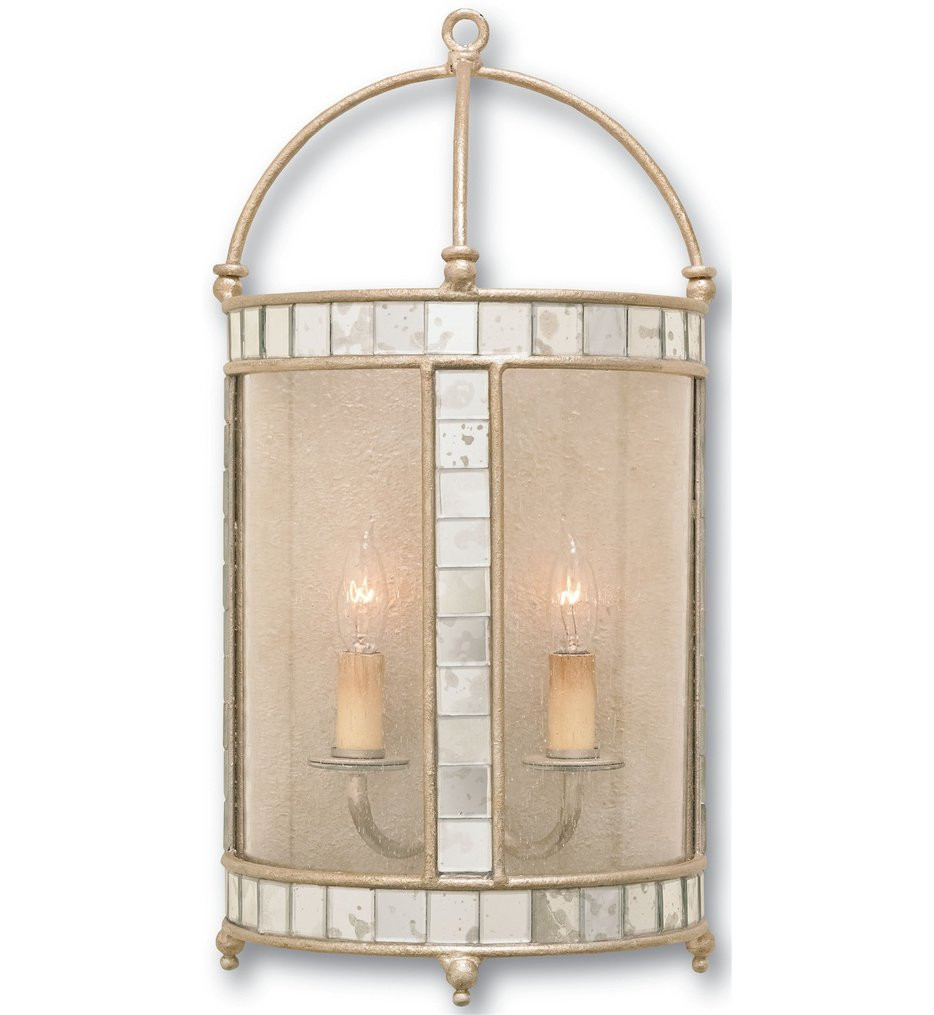 Currey & Company - 5032 - Corsica 2 Light Wall Sconce with Harlow Silver Leaf Finish