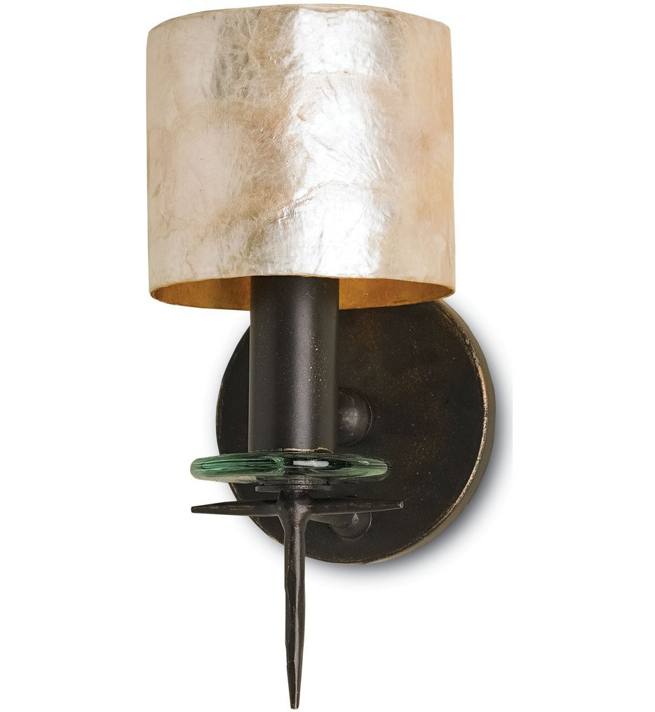 Currey & Company - 5135 - Theta 1 Light Wall Sconce with Bronze Gold/Natural Shell Finish