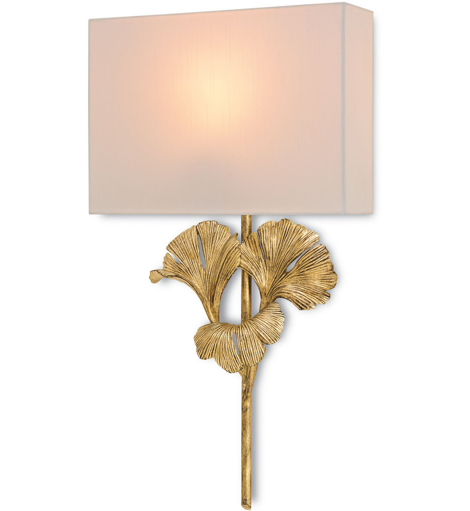 Currey & Company - 5178 - Gingko 1 Light Wall Sconce with Chinois Antique Gold Leaf Finish