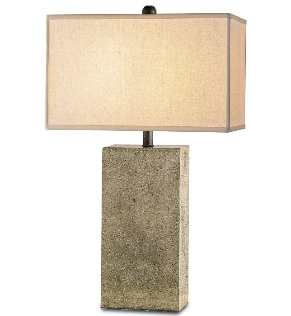 Currey & Company - 6390 - Symbol Table Lamp with Polished Concrete/Aged Steel Finish
