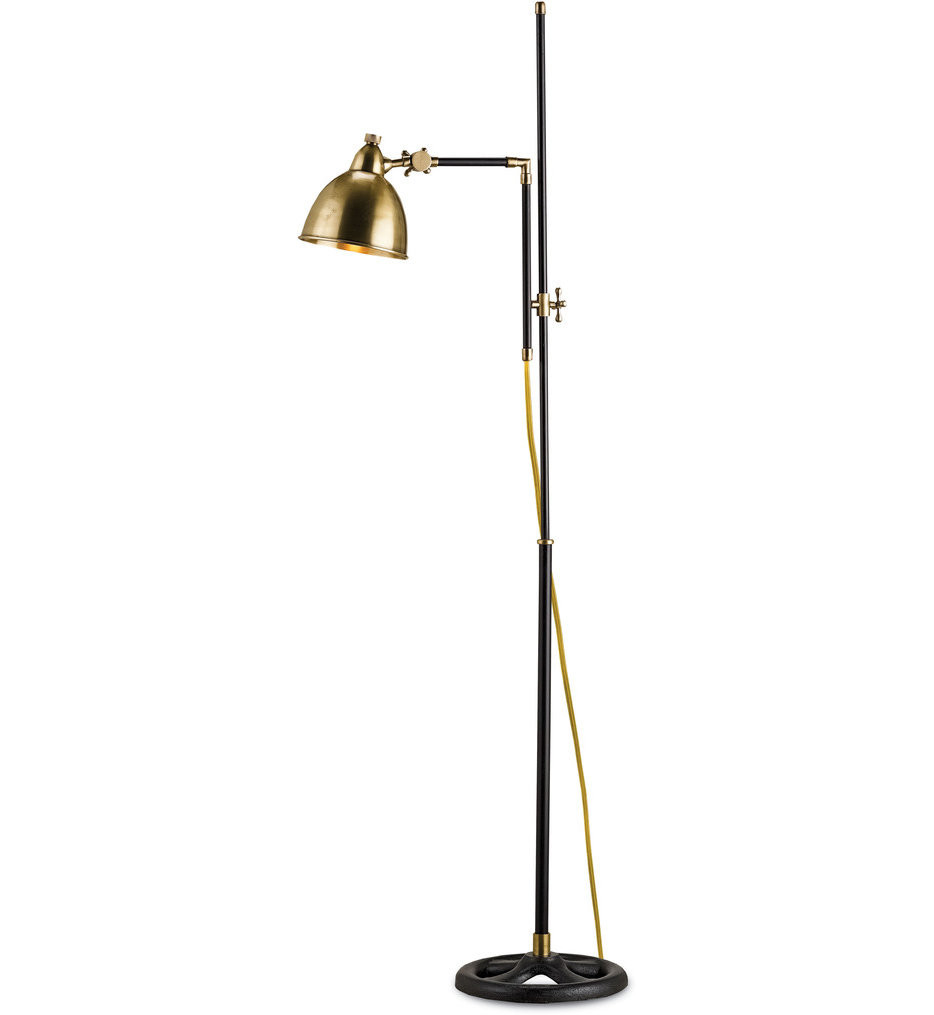 Currey & Company - 8051 - Drayton Floor Lamp with Antique Brass/Black Finish
