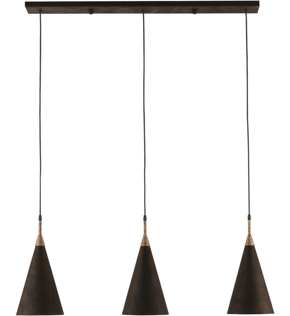 Currey & Company - 9000-0222 - Baird Mole Black/Mole Gold/Acrylic White Interior 3 Light Pendant