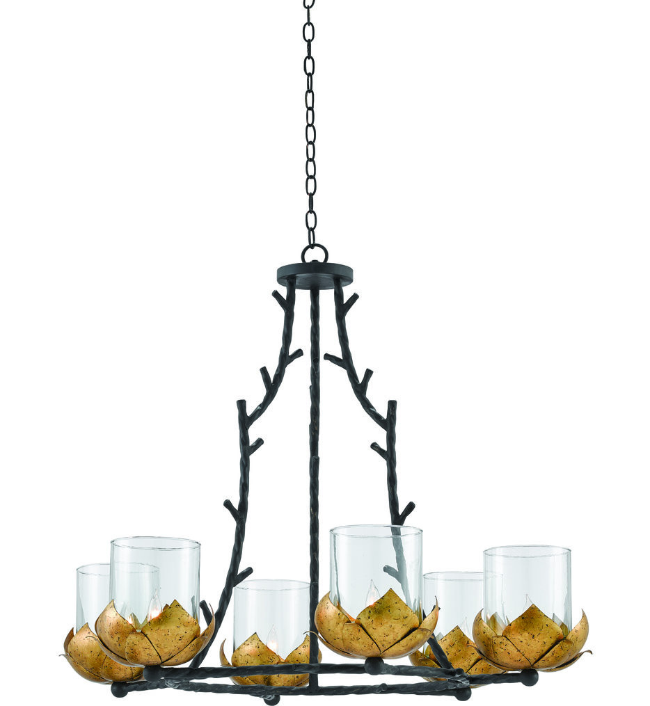 Currey & Company - 9000-0337 - Water-Lily New Gold Leaf/French Black 6 Light Chandelier