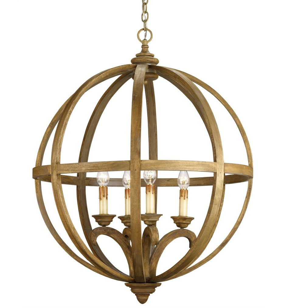 Currey & Company - 9015 - Axel 4 Light Chandelier with Chestnut Wood Finish