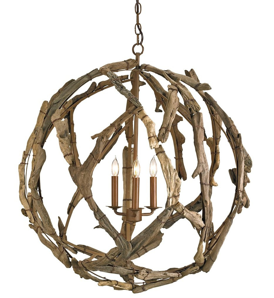 Currey & Company - 9078 - Driftwood 3 Light Chandelier with Natural Wood Finish