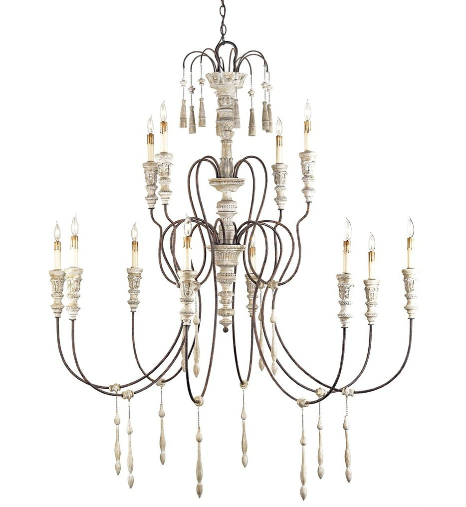 Currey & Company - 9117 - Hannah 12 Light Chandelier with Stockholm White/Rust Finish