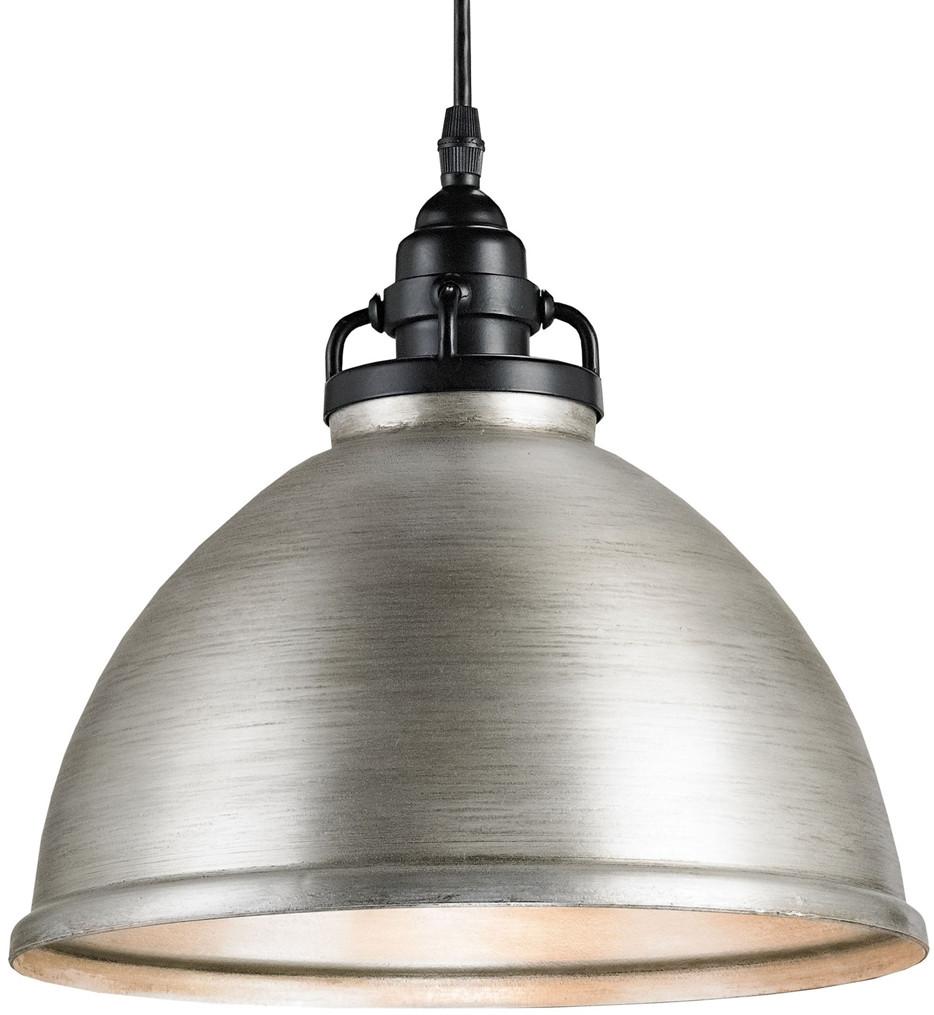 Currey & Company - 9207 - Ruhl 1 Light Pendant with Satin Black/Antique Brushed Nickel Finish