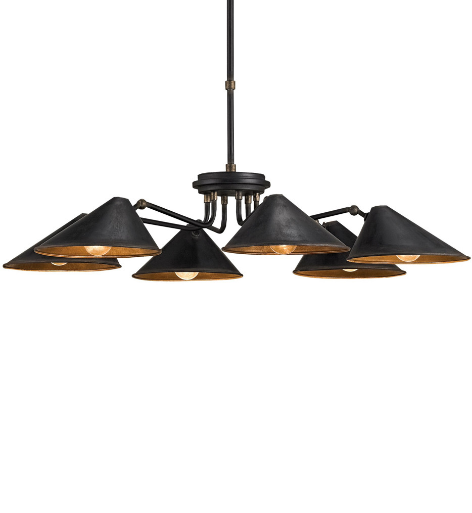 Currey & Company - 9308 - Fanlight 6 Light Chandelier with Black Smith Finish