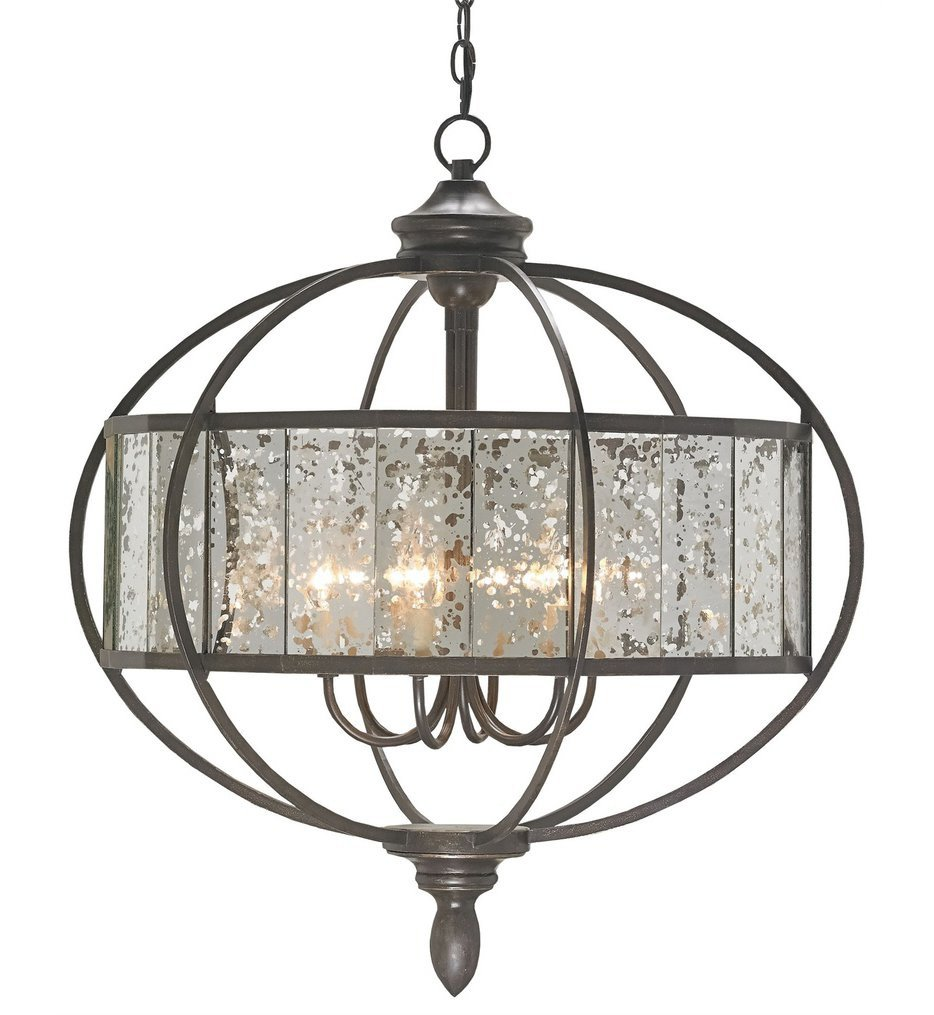Currey & Company - 9330 - Florence 6 Light Chandelier with Bronze Gold/Antique Mirror Finish