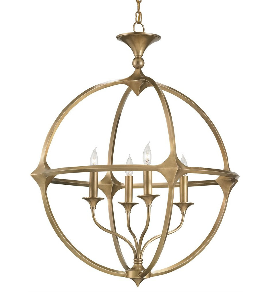 Currey & Company - 9346 - Bellario 4 Light Chandelier with Antique Brass Finish
