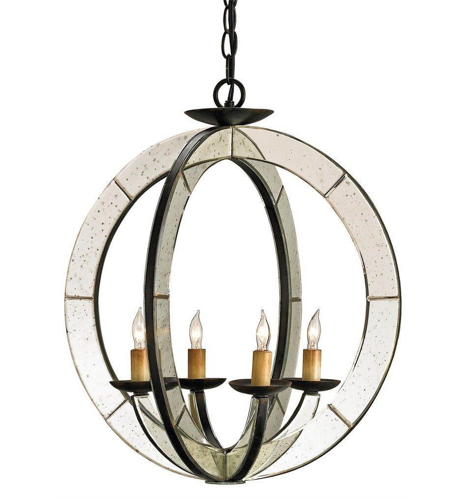 Currey & Company - 9400 - Meridian 4 Light Chandelier with Old Iron/Antique Mirror Finish