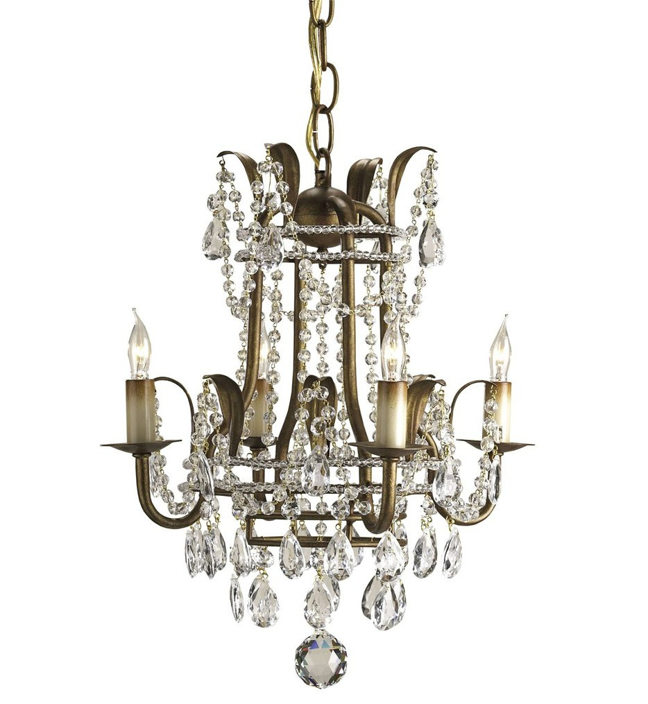 Currey & Company - 9543 - Laureate 4 Light Chandelier with Rhine Gold Finish