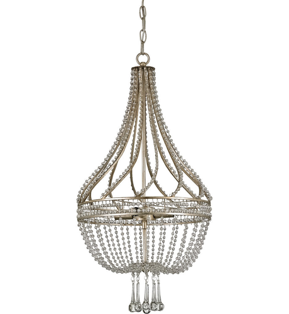 Currey & Company - 9634 - Ingenue 4 Light Chandelier with Chinois Antique Silver Leaf Finish