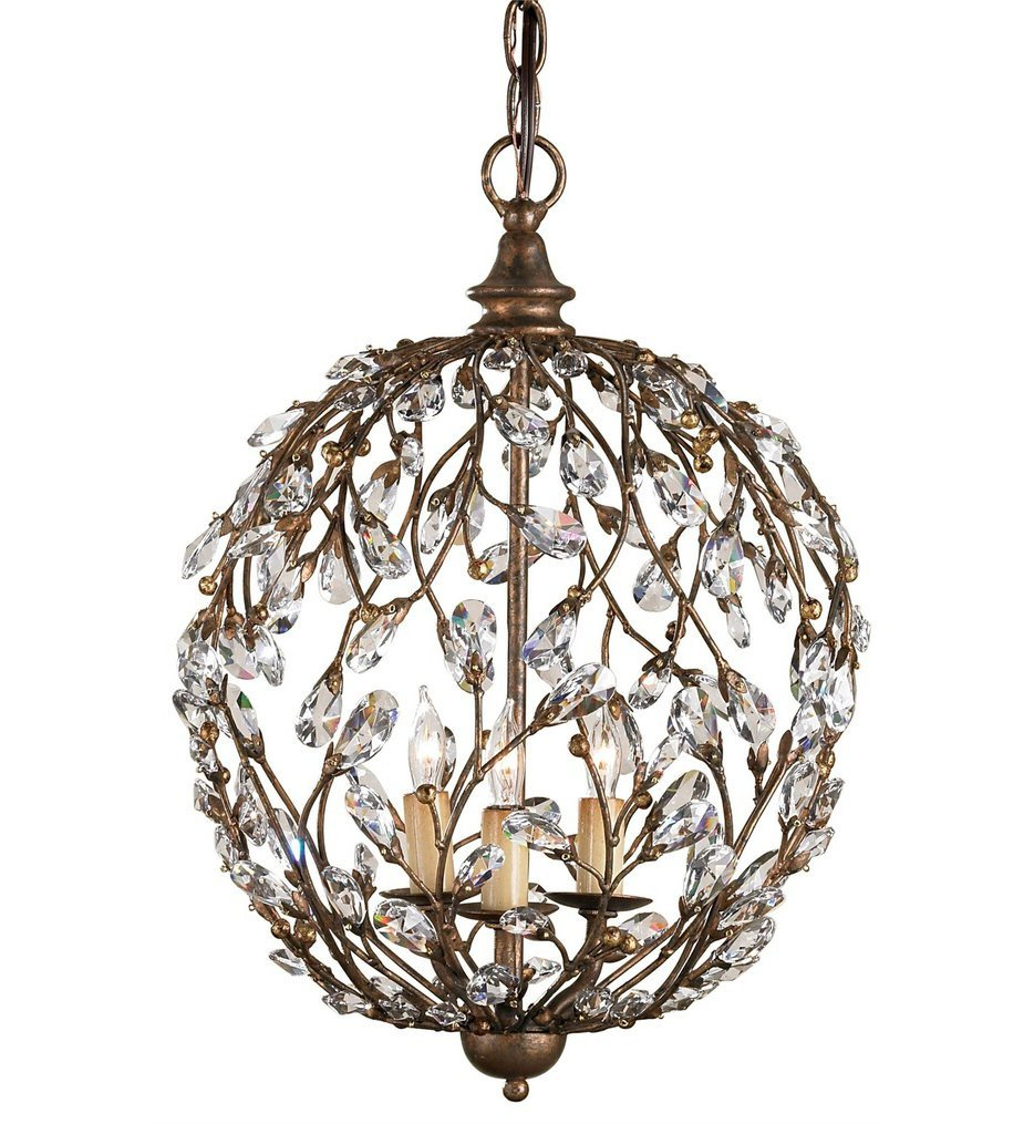Currey & Company - 9652 - Crystal Bud 3 Light Sphere Chandelier with Cupertino Finish