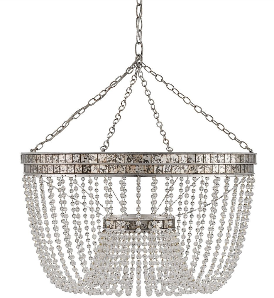 Currey & Company - 9685 - Highbrow Chandelier with Contemporary Silver Leaf/Distressed Silver Leaf Finish