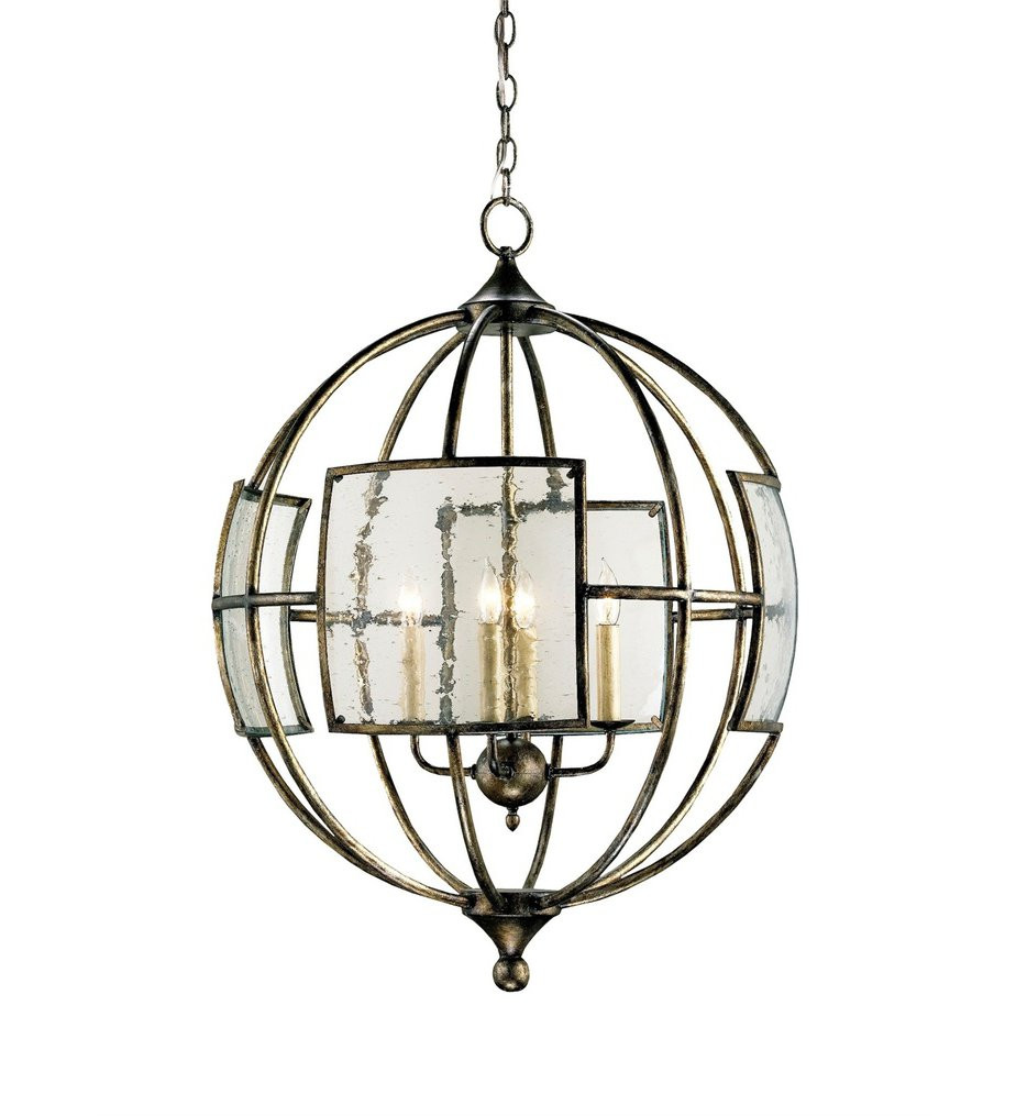 Currey & Company - 9750 - Broxton 4 Light Chandelier with  Pyrite Bronze Finish