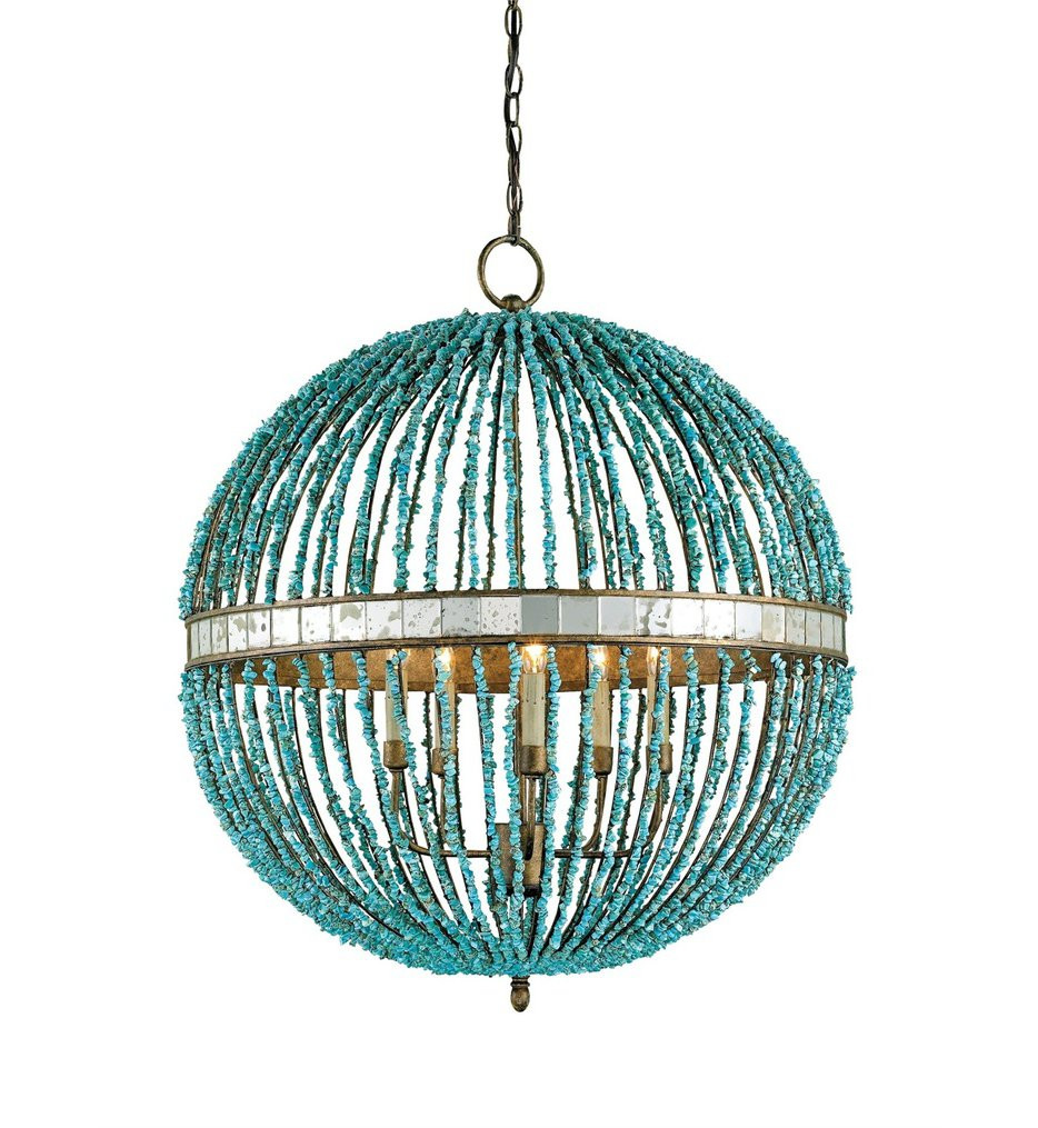 Currey & Company - 9763 - Alberto 5 Light Chandelier with Cupertino Finish and Turquoise Marble Beads
