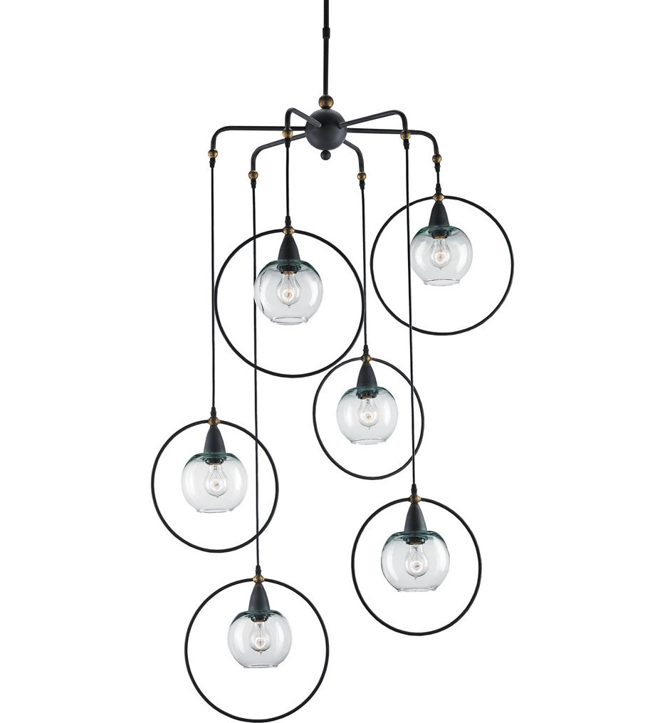 Currey & Company - 9869 - Moorsgate 6 Light Pendant with Blacksmith/Old Brass Finish