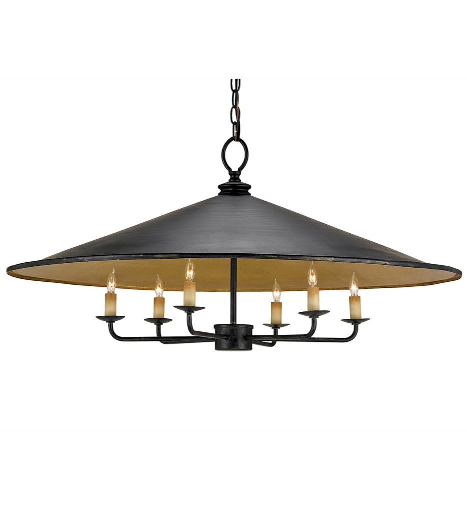 Currey & Company - 9873 - Brussels 6 Light Pendant with French Black/Gold Leaf Finish