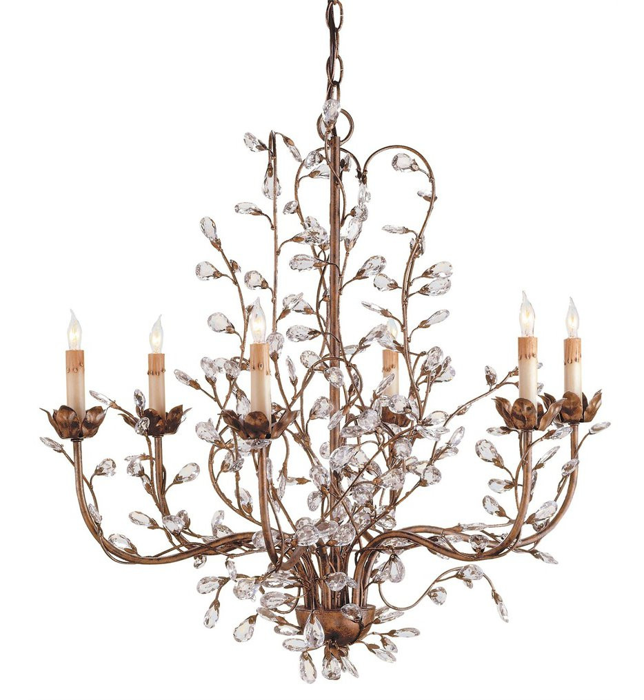 Currey & Company - 9882 - Crystal Bud 6 Light Chandelier with Cupertino Finish