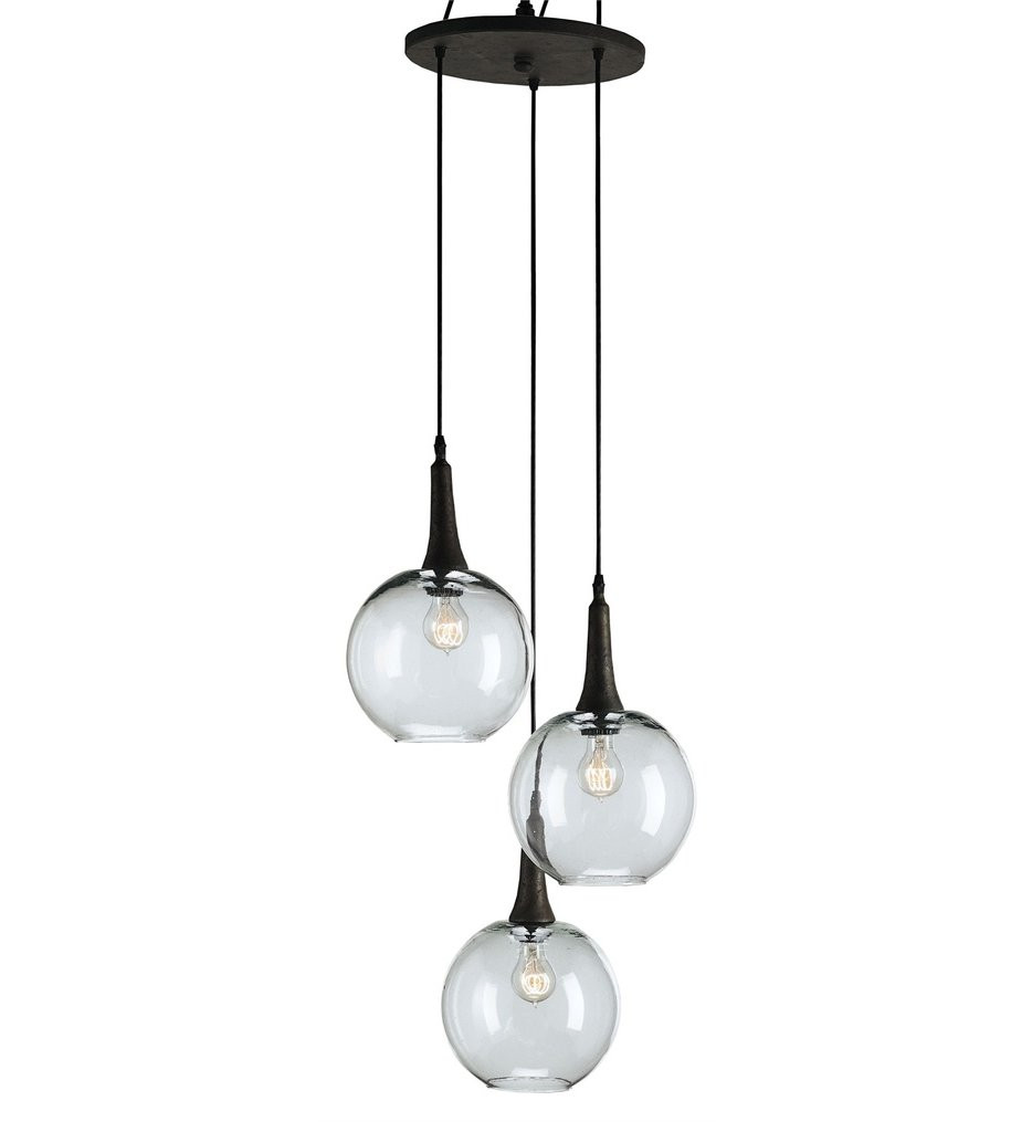 Currey & Company - 9969 - Beckett 3 Light Pendant with Shirley Rust Finish