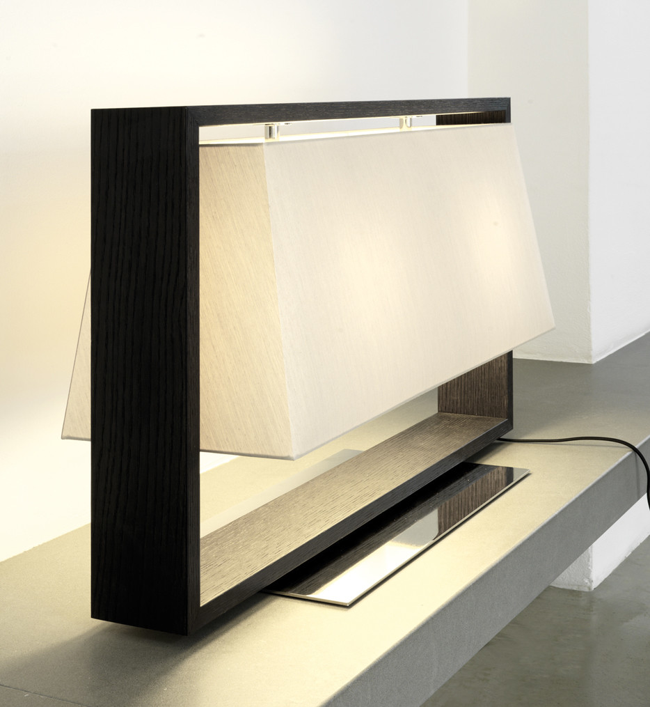 Contardi Lighting - ACAM.000462 - Frame Dark Brown Oak & Polished Nickel Table Lamp