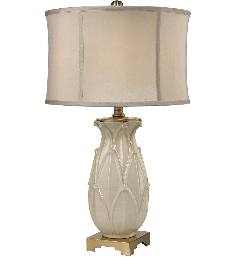 Dimond - Ceramic Leaf Cream & Antique Brass Table Lamp
